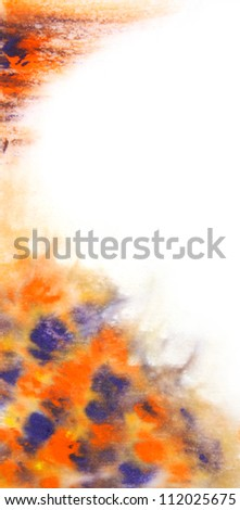 Abstract hand drawn watercolor background: blue and orange blurs. Great for textures, vintage design, and luxurious wallpaper
