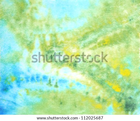 Abstract hand drawn watercolor background: blue, green, and yellow blurs. Great for textures, vintage design, and luxurious wallpaper