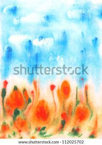 Abstract hand drawn watercolor background: blue sky, green leaves, and red flowers. Great for textures, vintage design, and luxurious wallpaper