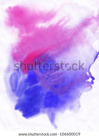 abstract hand drawn watercolor background, raster illustration,  stain watercolors colors wet on wet paper