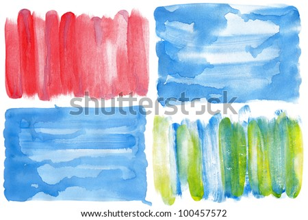 Abstract hand drawn watercolor backgrounds isolated on white