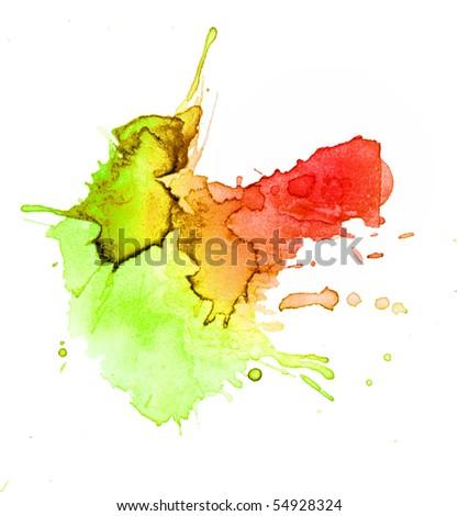 abstract hand drawn watercolor blot, raster illustration