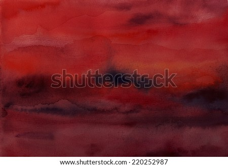 Abstract hand painted red and black watercolor atmospheric background