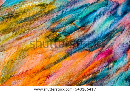 Abstract Hand painted Watercolor Colorful wet background on paper. Watercolor texture for creative wallpaper or design art work. #548186419