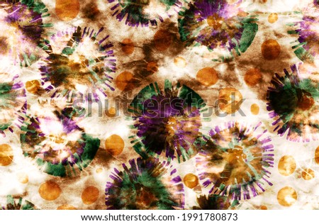 Abstract Hand Painting Watercolor Tie Dye Shibori Circles Seamless Pattern Batik Background