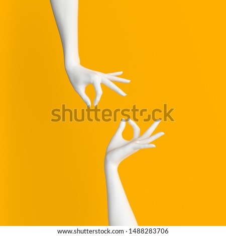 Abstract Hand pose like picking something isolated on yellow. 3d illustration Сток-фото ©