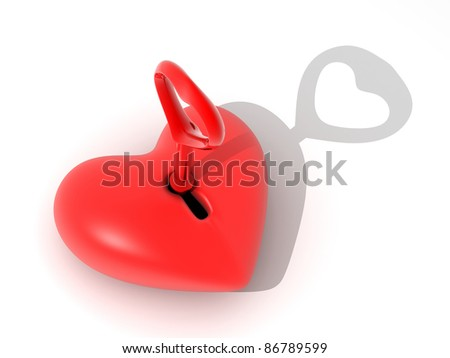Abstract heart and key (done in 3d, cgi) - stock photo