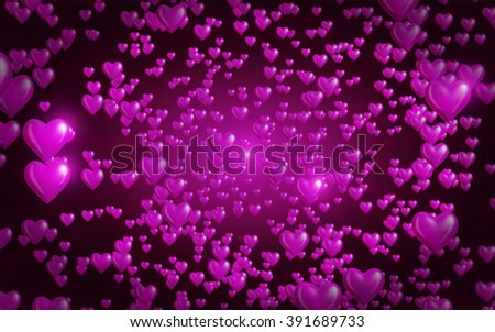 Abstract Heart Background - Glossy pink hearts floating towards viewer in a star field effect. #391689733