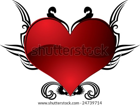 stock photo : abstract heart tattoo in red and black ideal for valentines