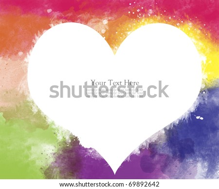 Abstract heart watercolor painted background