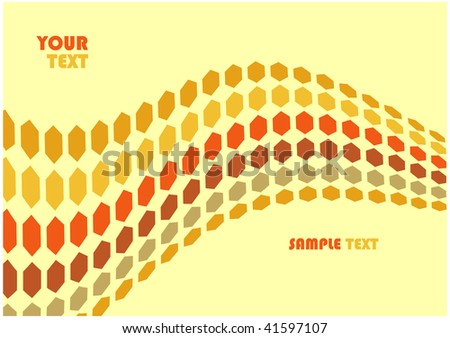 abstract hex waves illustration background with copyspace for your text