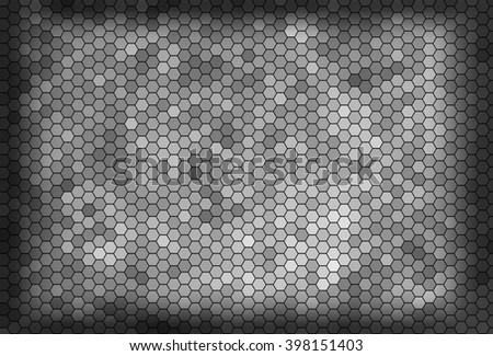Abstract hexagons background. Gray, white comb ornament.  illustration.
