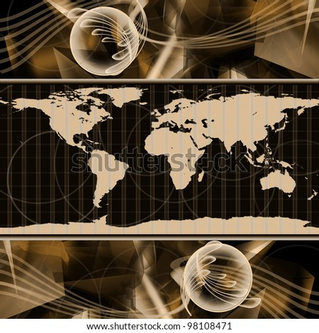 Abstract hi-tech Background with world map