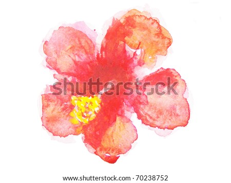 Abstract hibiscus  Floral watercolor illustration