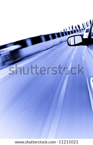 Abstract high speed blur from a car, blue toned.