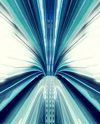 Abstract high-speed technology concept image from the Yuikamome automated guideway in Tokyo