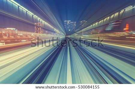 Abstract high speed technology POV motion blurred concept image from the Yuikamome monorail in Tokyo Japan #530084155