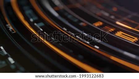Abstract high tech digital technology background made of particles, disc and holographic plates. decoding, encoding digital circular motion. 3D rendering Stock foto ©