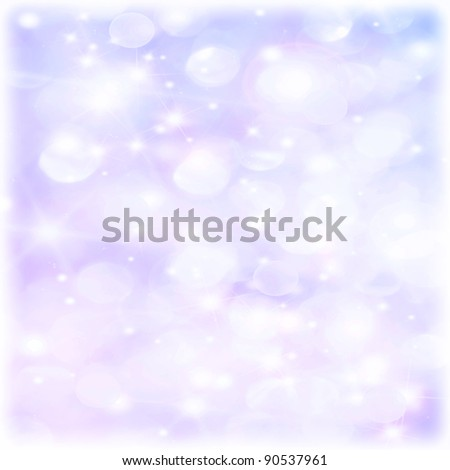 Abstract holiday background, beautiful shiny Christmas lights and winter snowflakes, glowing magic bokeh