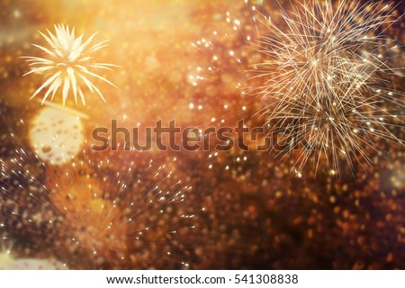 abstract holiday background - Fireworks at New Year and copy space #541308838