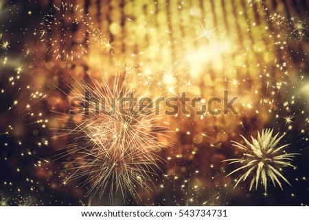 abstract holiday background - Fireworks at New Year and copy space #543734731