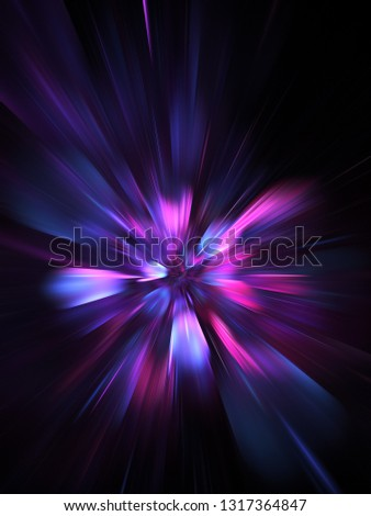 Abstract holiday background with blurred rays and sparkles. Fantastic blue and purple light effect. Digital fractal art. 3d rendering.