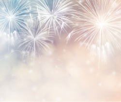 Abstract holiday background with fireworks and bokeh