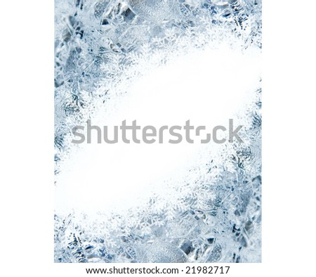 Abstract holiday card with ice and snowflakes