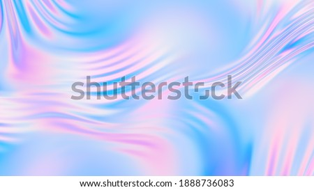 Abstract holographic silk background. Gradient neon background. Holographic foil trendy colorful design. 3D illustration, 3D rendering.