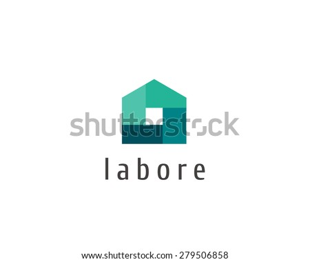 Abstract house logo design template. Colorful sign. Universal icon