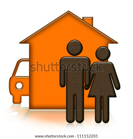 Abstract house, people and car