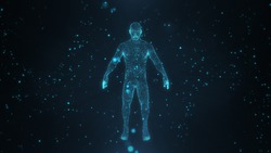 Abstract human body with glowing particles with healthy and technology concept in dark and blue light. Human body health, modern medical science in future and global international medical.