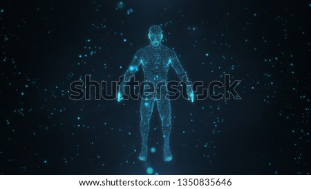 Abstract human body with glowing particles with healthy and technology concept in dark and blue light. Human body health, modern medical science in future and global international medical. Stockfoto ©