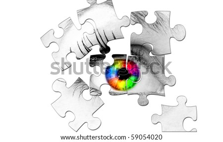 abstract human coloured eye from puzzle