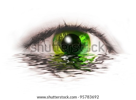 abstract human eye with green earth instead of  iris with water reflection isolated on white background