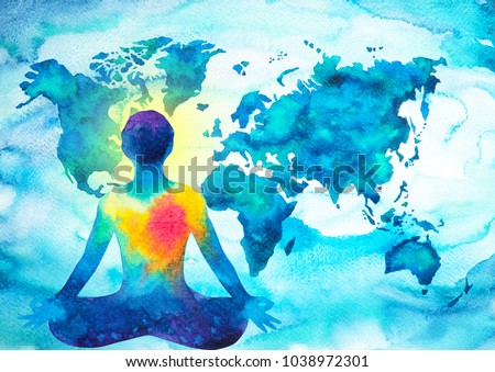 abstract human meditator chakra universe power world map background design blue green watercolor painting