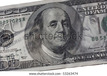 abstract hundred dollar bill- synthesis of Bejnamin Franklin faces from different angles
