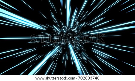 Abstract hyper jump in space 3d illustration