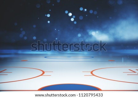 Abstract illuminated hockey field backdrop. Sports concept. 3D Rendering
