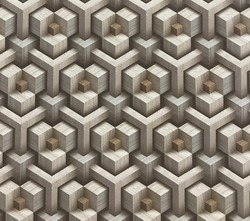 Abstract illusion of wooden squares stacked in series. Create the illusion.