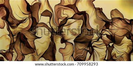 abstract illustration art color psychedelic fractal wavy spiral lines on a brown background organic forms on the subject of abstraction, imagination and art