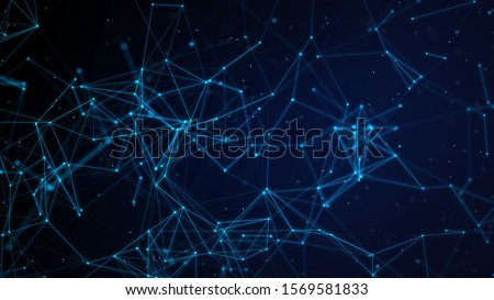 Abstract illustration background motion transformation with flickering light on plexus pattern of future innovation technology digital business dots line network decentralize communication connection