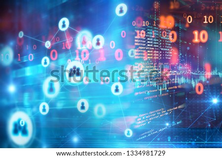 abstract illustration background with user icon and connecting dots and lines .Business and global connection 