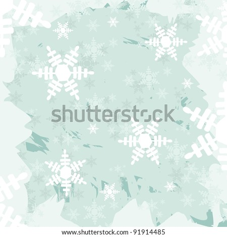 abstract illustration, blue winter texture with snowflakes