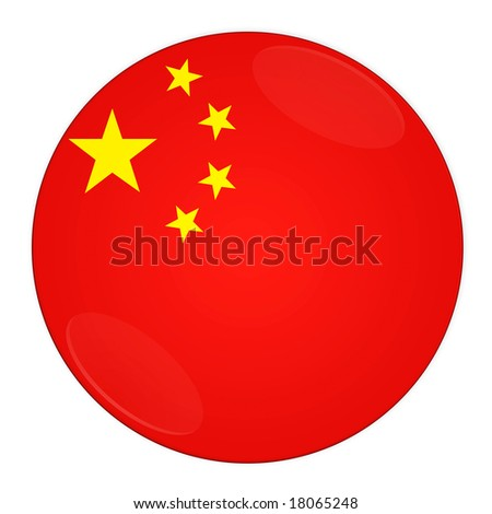 Abstract illustration: button with flag from China country - stock photo