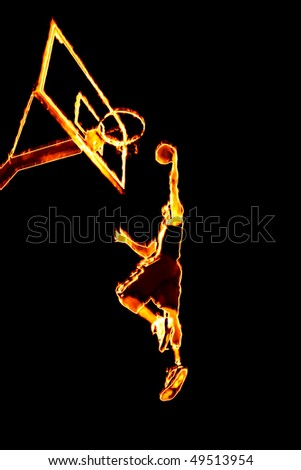 basketball player dunking. burning asketball player