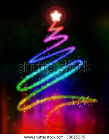 Abstract illustration of a glowing and colorful Christmas tree