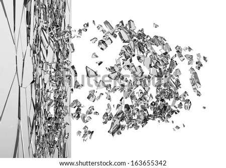 Abstract Illustration of Broken Glass isolated on white background. (Animation for this image see in my footage gallery)