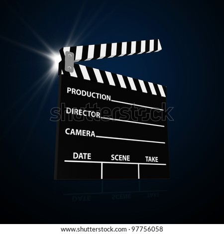 Abstract Illustration of Cinema Clap with Spotlight