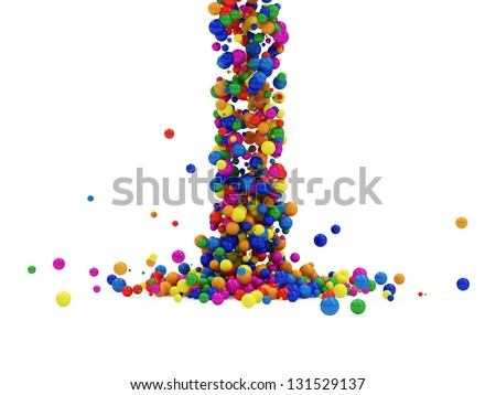 Abstract Illustration of Colorful Balls Falling on white background. (Animation for this image see in my footage gallery)